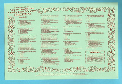 """Christmas Bible Quiz"" Placemats (25 Pack)"