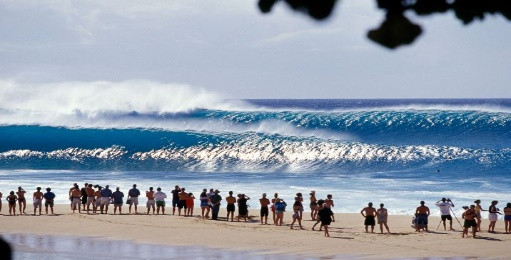 Image of a crowd of people on a beach watching big waves roll onto shore.