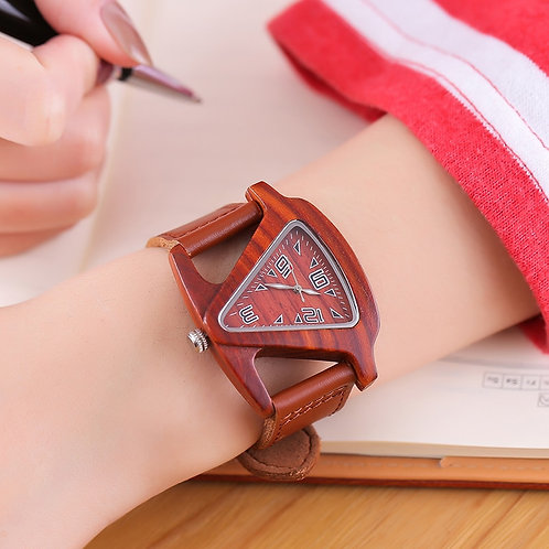Women Wooden Wrist Watch Quartz Watches Female Bamboo Leather