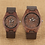Thumbnail: Coffee Brown Lovers Wood Watch Creative Arts Timepiece Casual Leather Watches