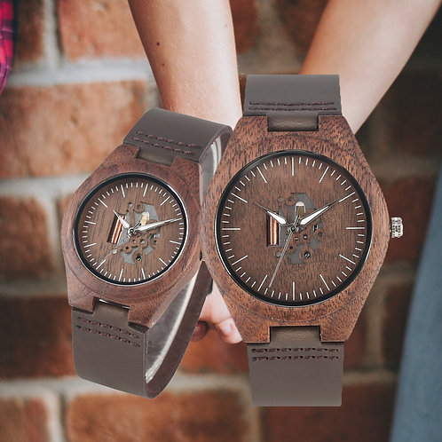 Coffee Brown Lovers Wood Watch Creative Arts Timepiece Casual Leather Watches