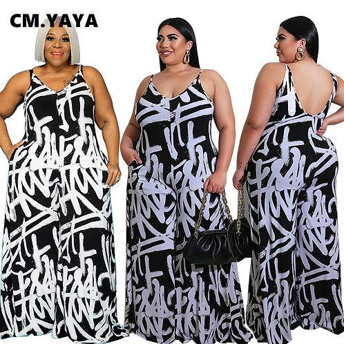 CM.YAYA Plus  Letter Print Spaghetti Strap Elastic Jumpsuit