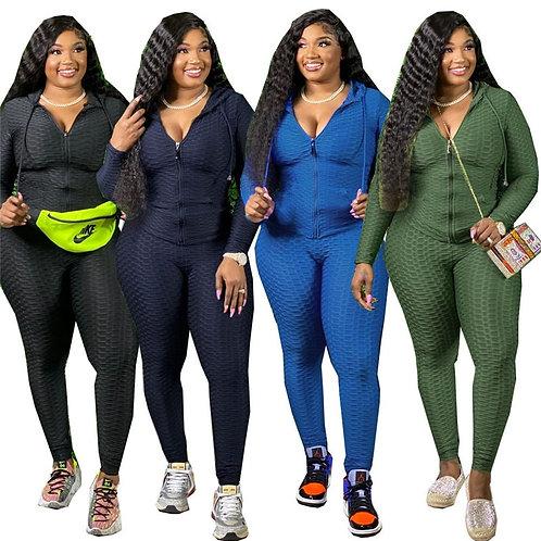 Plus Size Two Piece Set Women Tracksuit Sweatshirt Sweatpants