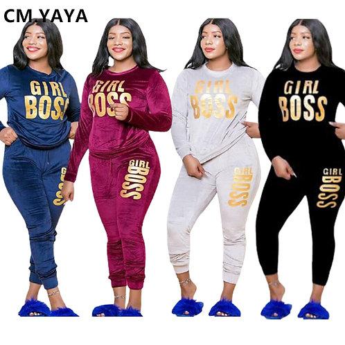 CM.YAYA Plus Size Letter Print Velvet  Two Piece Set Fitness Outfit