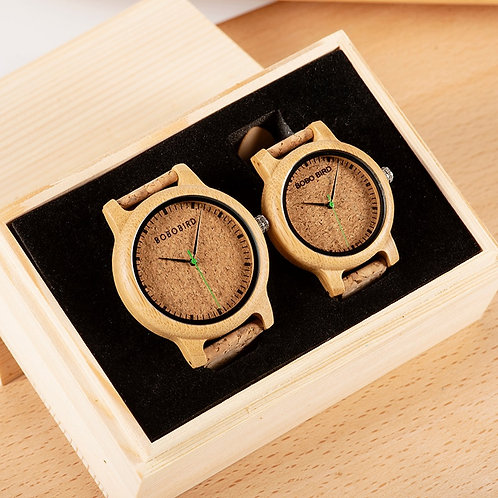 Simple Design Couple Watch Wood Wristwatch Men Women Customized Text on Box