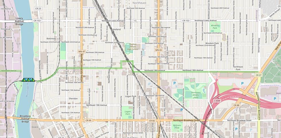 Great Northern Greenway 18th Avenue NE map