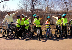 Pillsbury Elementary PedalPower points to the bridge they want to cross