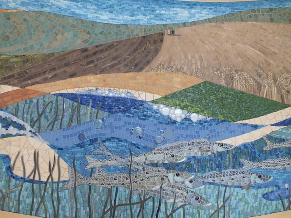 Flight Path,Airport Mosaic Mural , 6 x 1