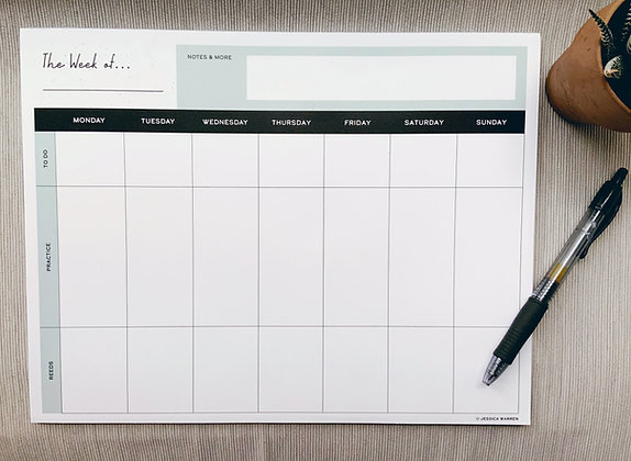 Reedmaking & Practice Weekly Calendar