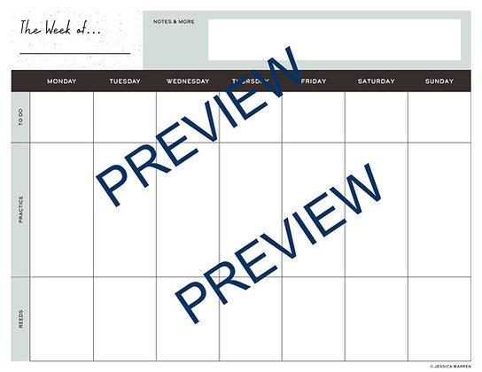 Printable Reedmaking & Practice Weekly Calendar