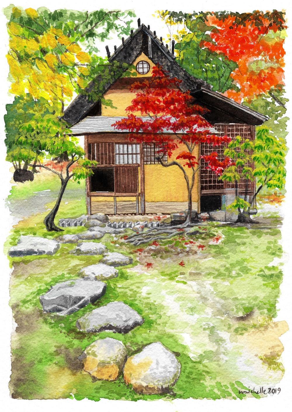 A teahouse in autumn