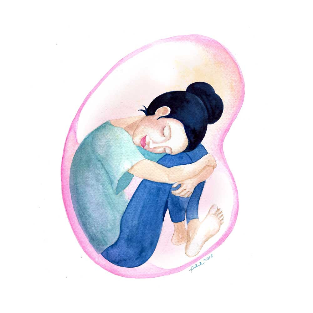 A watercolor painting of a girl wearing a green T-shirt and blue trousers crouching inside a pink bubble