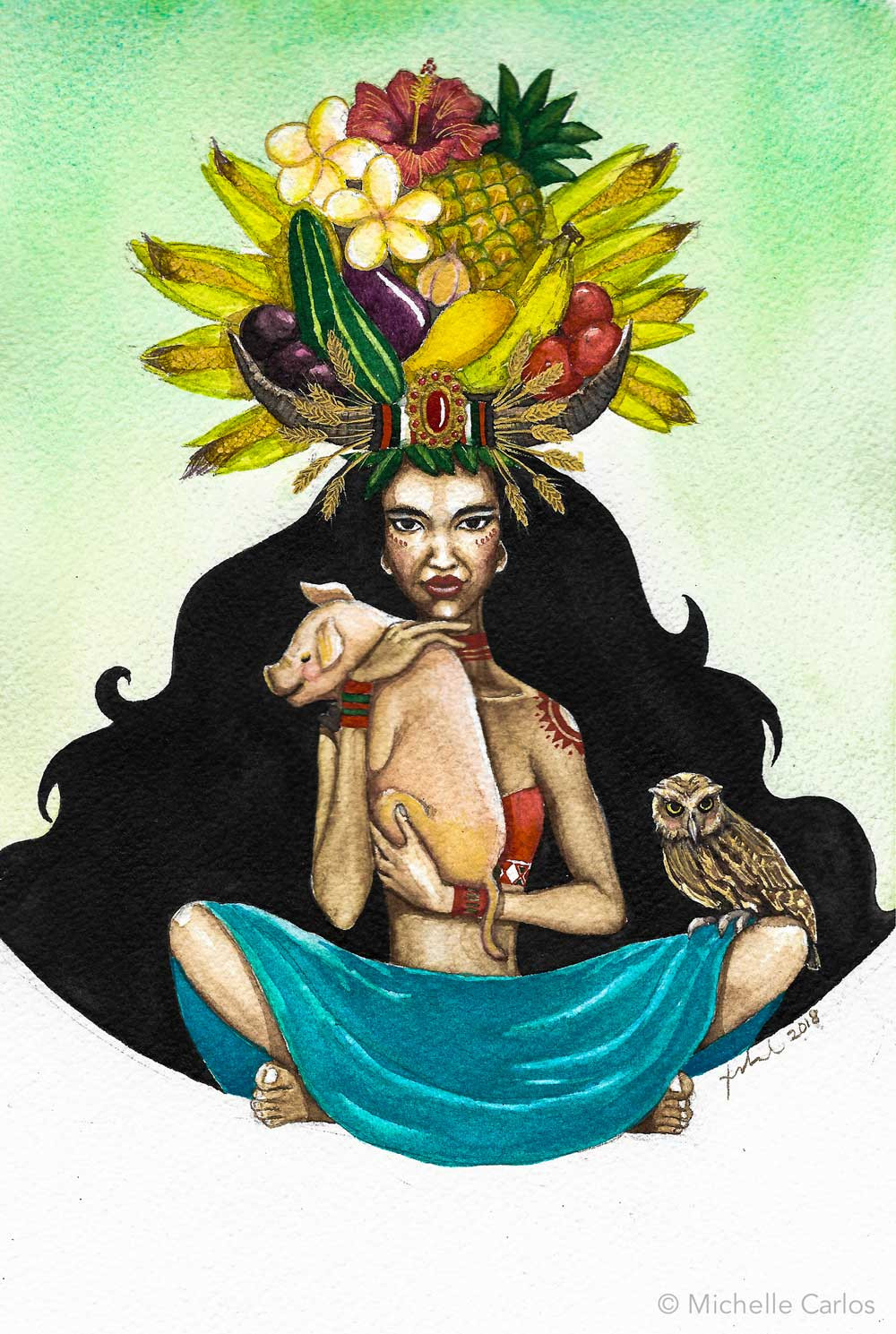 A cross-seated black-haired woman with fruits and flowers headdress holding a piglet and an owl perched on her lap