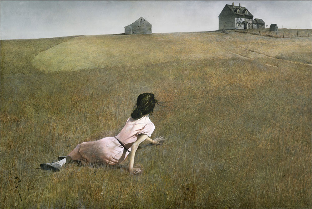 A woman crawling on a field looking onto a house from a distance