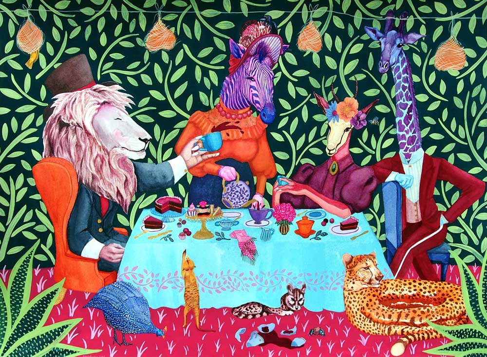 A painting of a pink zebra, rosy lion, springbok, blue giraffe and cheetah having a tea party.