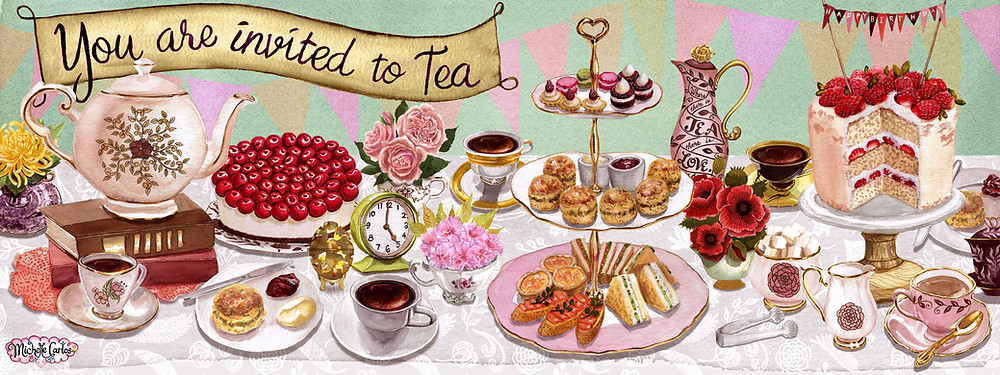 A table with desserts and tea