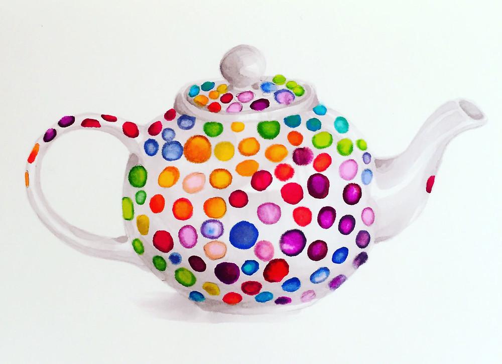 A polka-dot teapot illustration