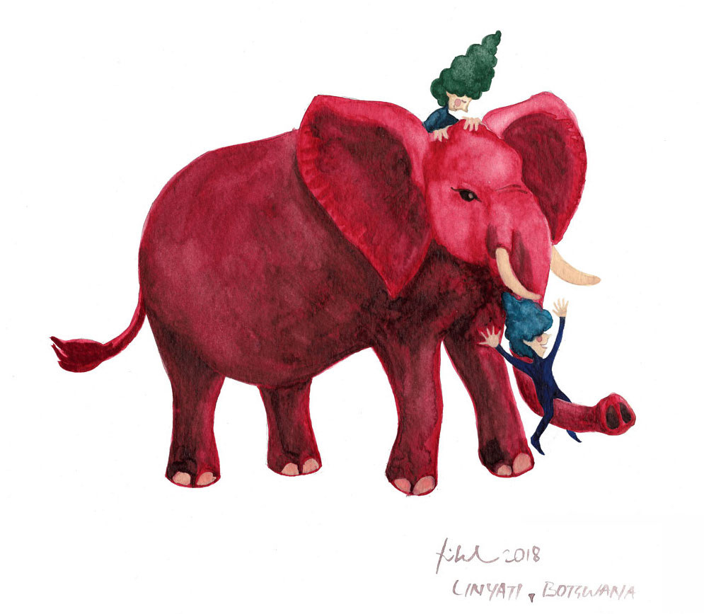 A watercolor painting of two cone-haired fairies sliding on a red elephant