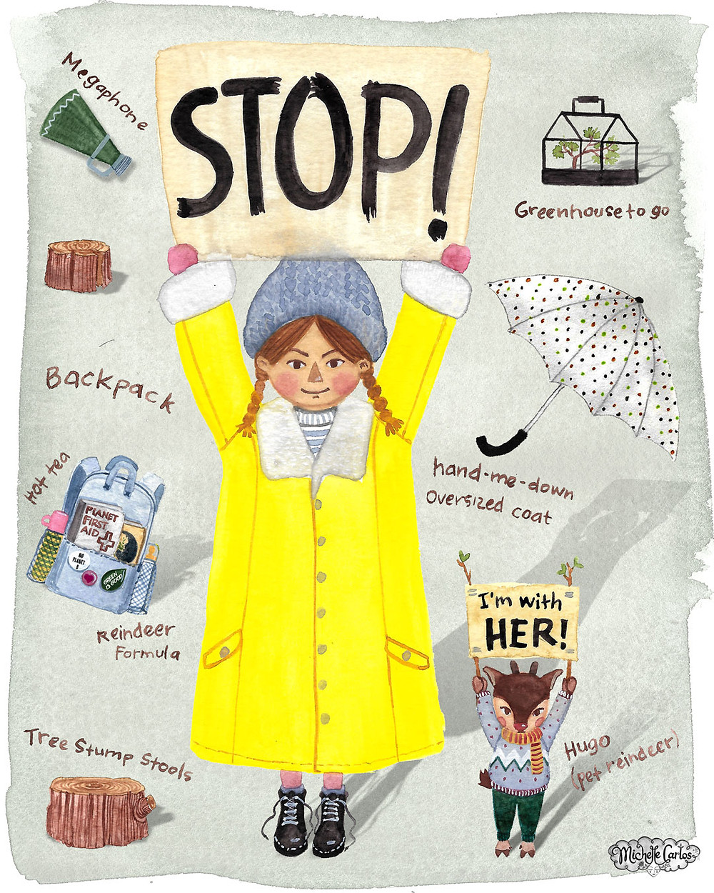 Girl holding a Stop! sign
