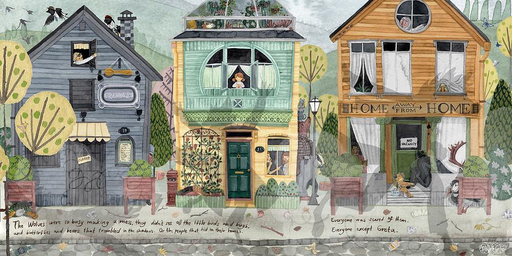 Three illustrated row houses