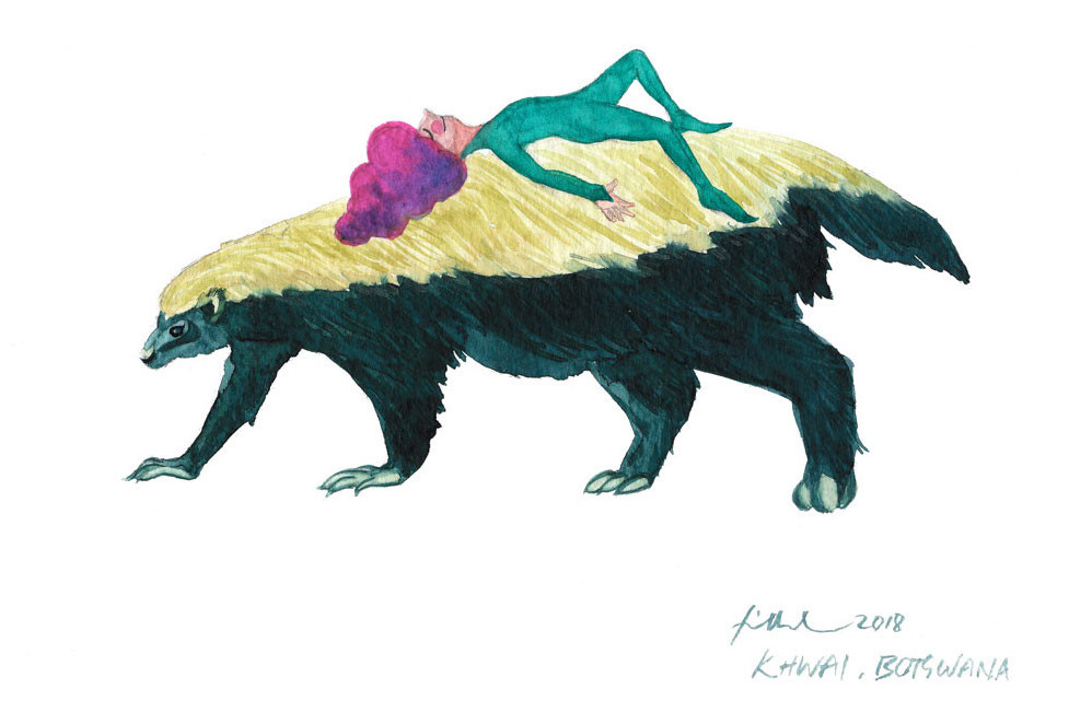 A watercolor painting of a honey badger and a cone-haired fairy lying on its back.
