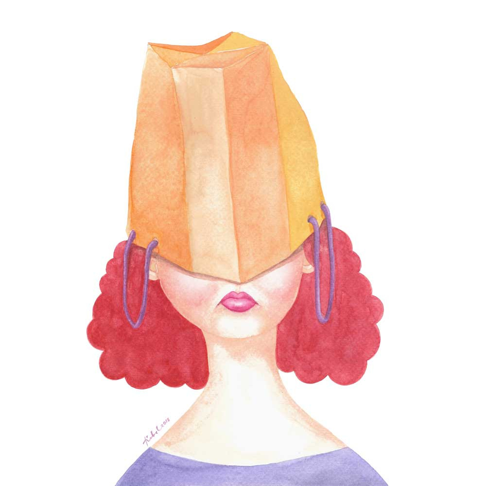 A watercolor painting of a red-head girl with an orange paperbag on her head