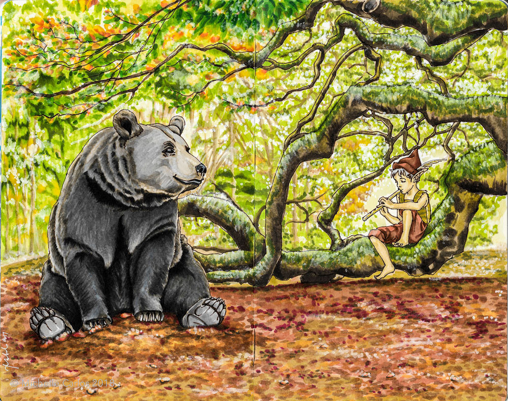 A black bear slouched on the ground watching an elf boy play a flute in a leafy forest