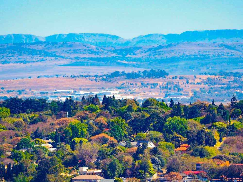 Landscape of Johannesburg with colorful trees and a mountain range