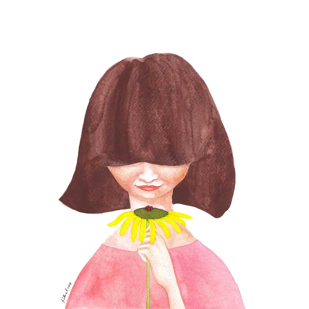 A watercolor painting of a girl in a pink dress looking at a ladybug on a sunflower
