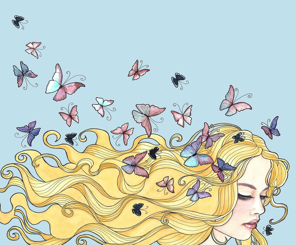 An illustration of a woman's head with long flowy blond hair and butterflies fluttering about her