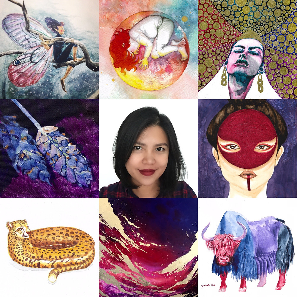 Michelle Carlos and a montage of her artworks with the dominant colors of red and blue