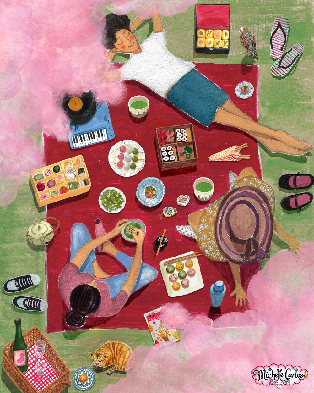 picnic under cherry blossoms