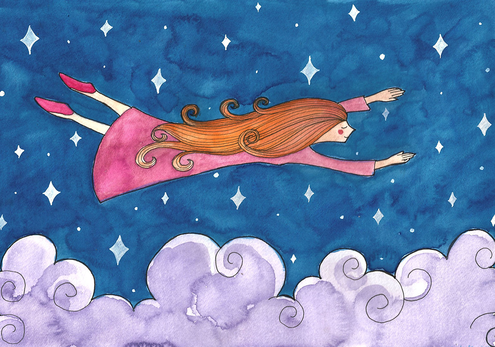 girl flying over clouds