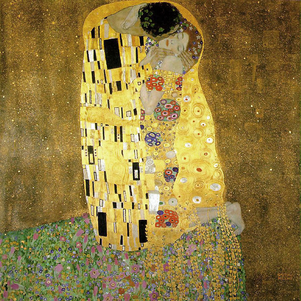 A painting of a man kissing a woman on the cheek