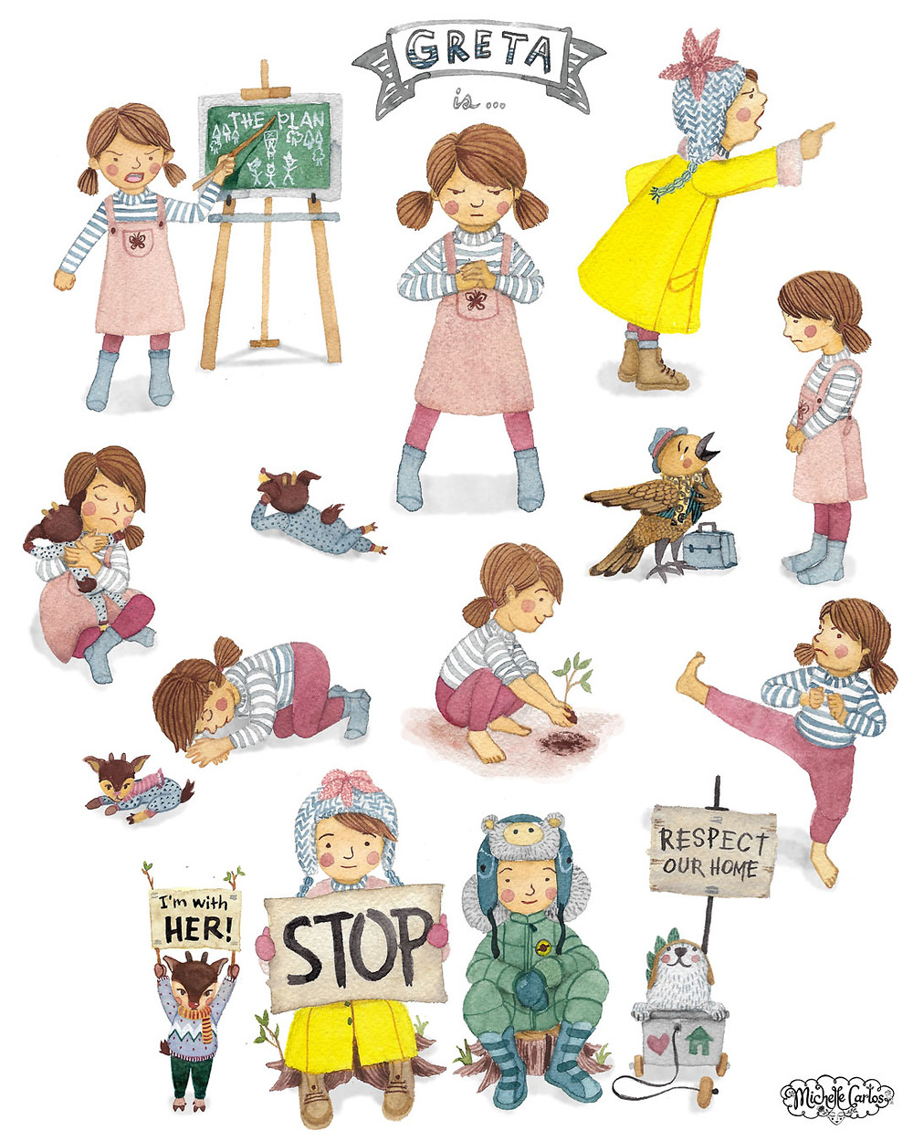 Various illustrated poses of a girl