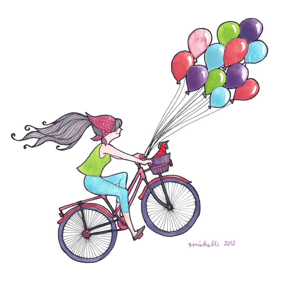 A girl on a bicycle floating with balloons