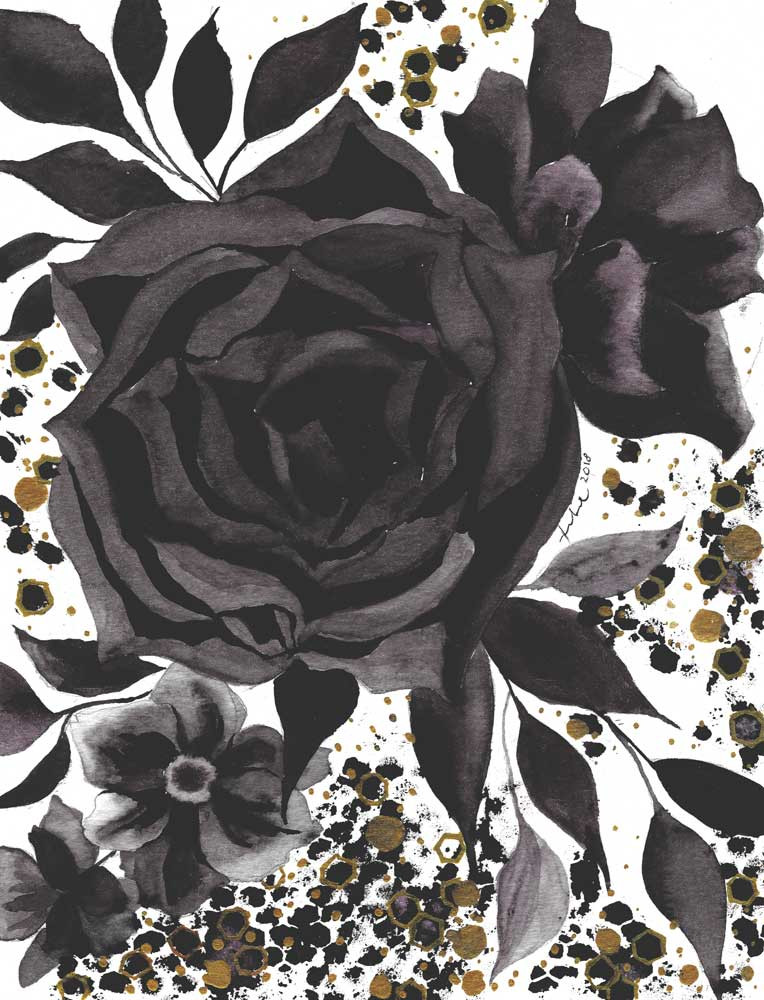 A watercolor painting of black roses and leaves with splashes gold paint and ink