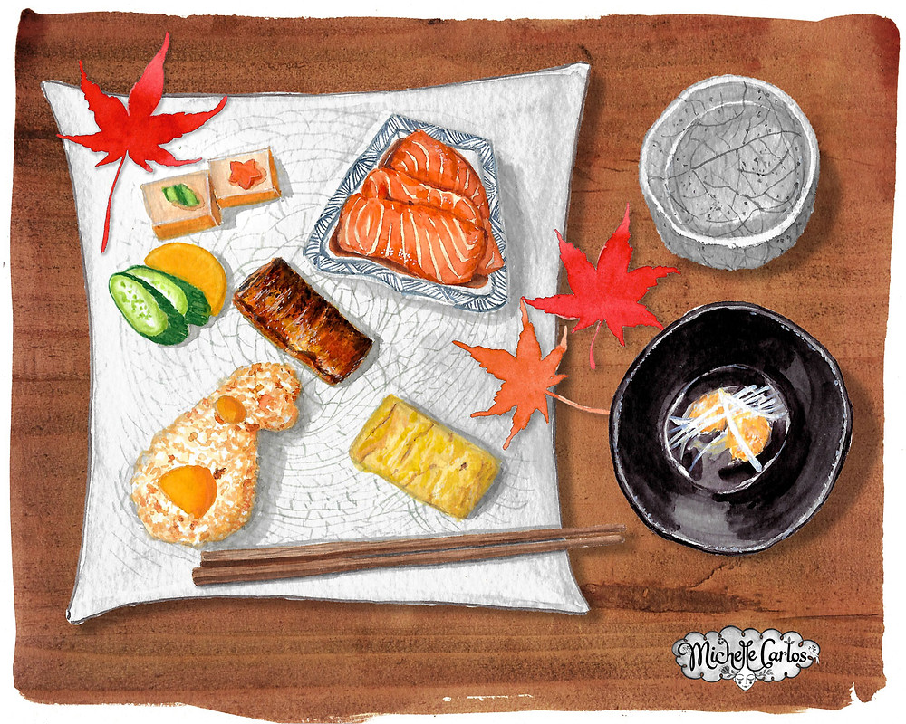 a plate with Japanese food