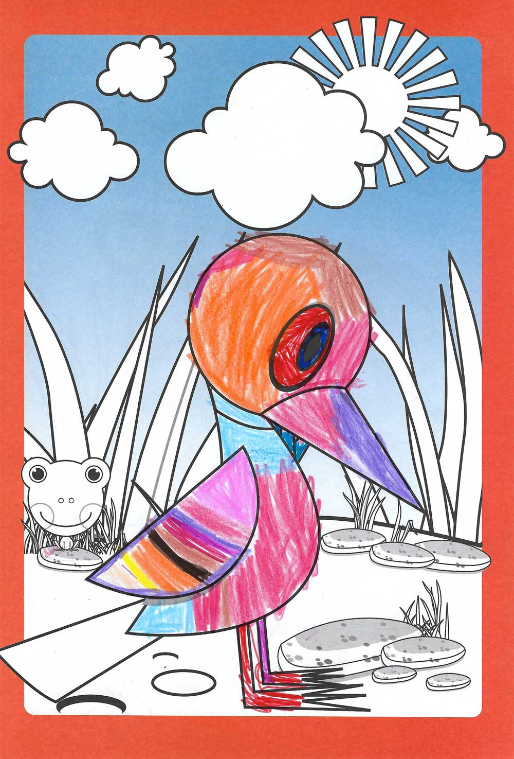 A drawing of a colorful bird standing under the sun
