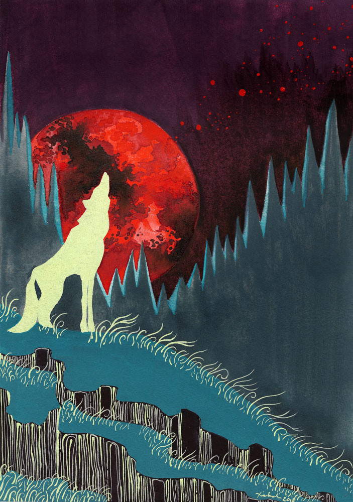 A silhouette of a fluorescent wolf howling on a hilltop against a blood red full moon.