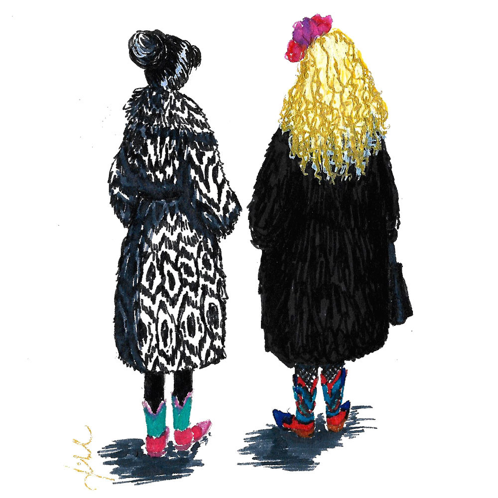 Illustration of two girls wearing fur coats and cowboy boots