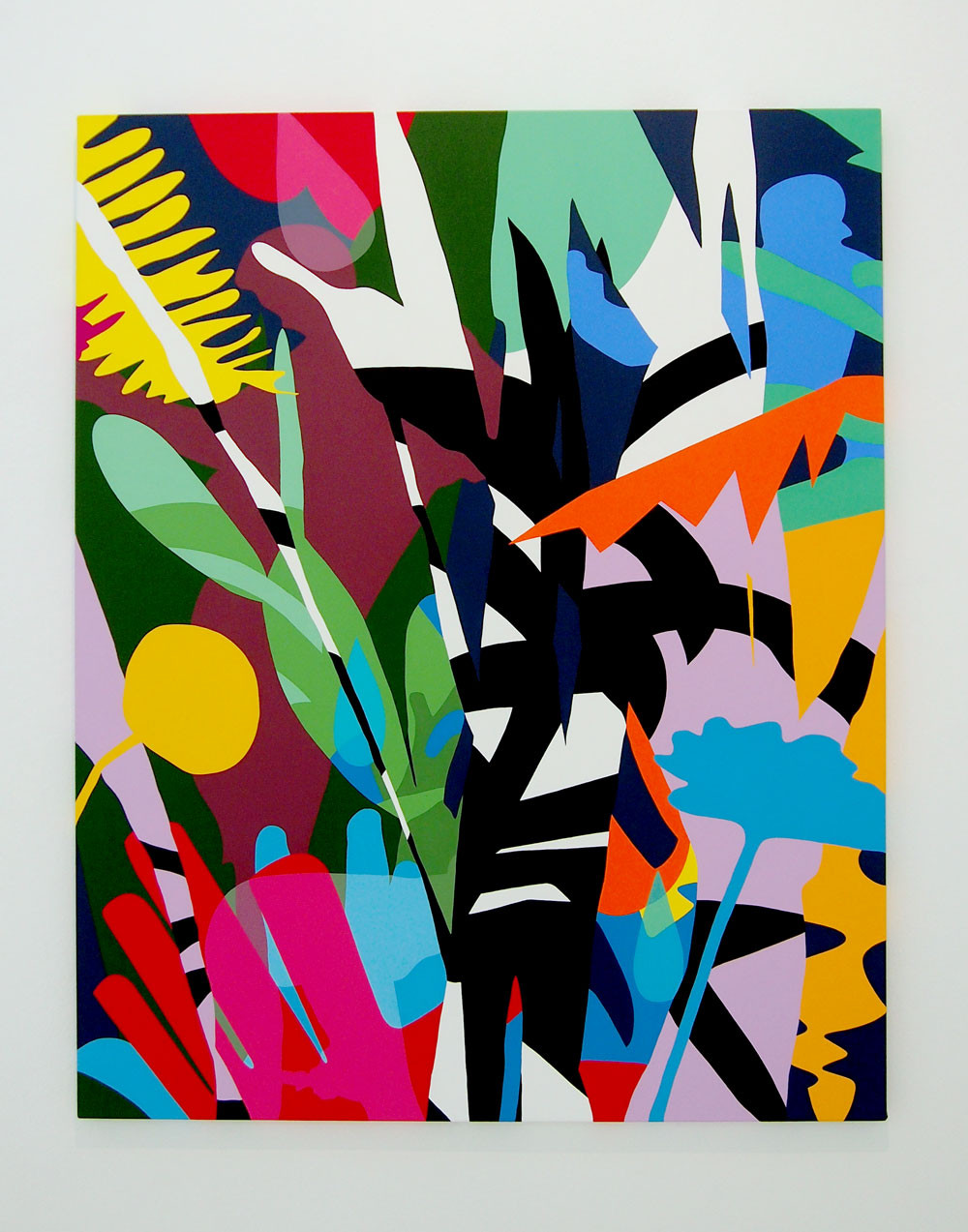 An abstracted painting on rectangular canvas of colorful foliage against a white background
