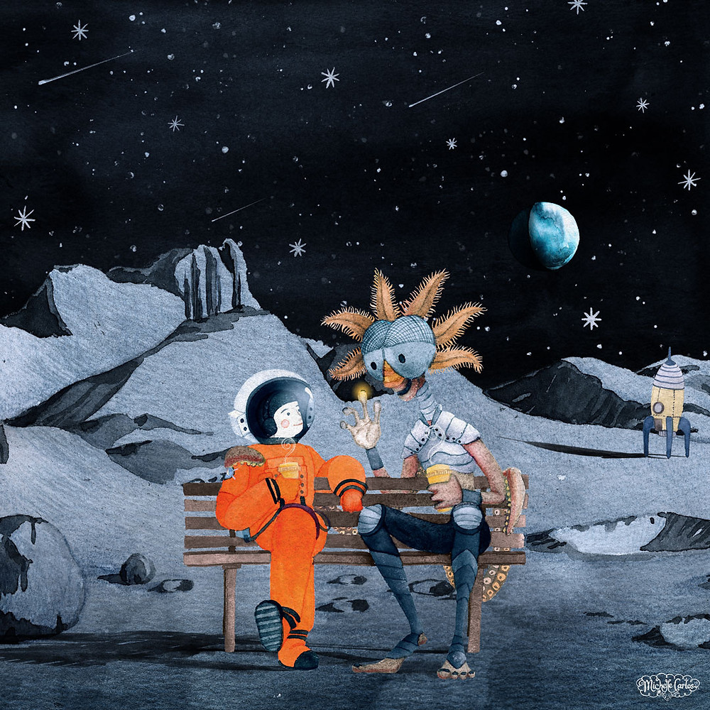 an alien talking to an astronaut while drinking coffee on a park bench on the moon