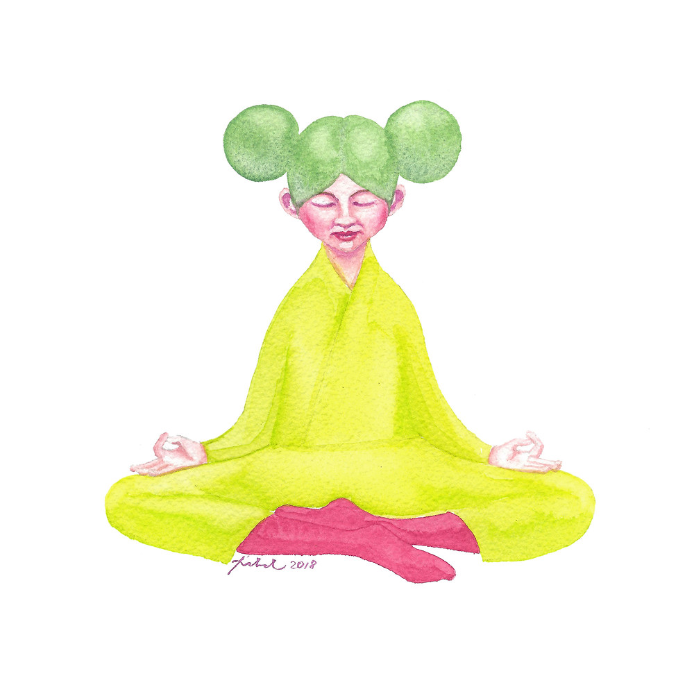 A watercolor painting of a girl with a green Mickey Mouse hairstyle in a yellow kimono and pink socks in a free seating yoga pose