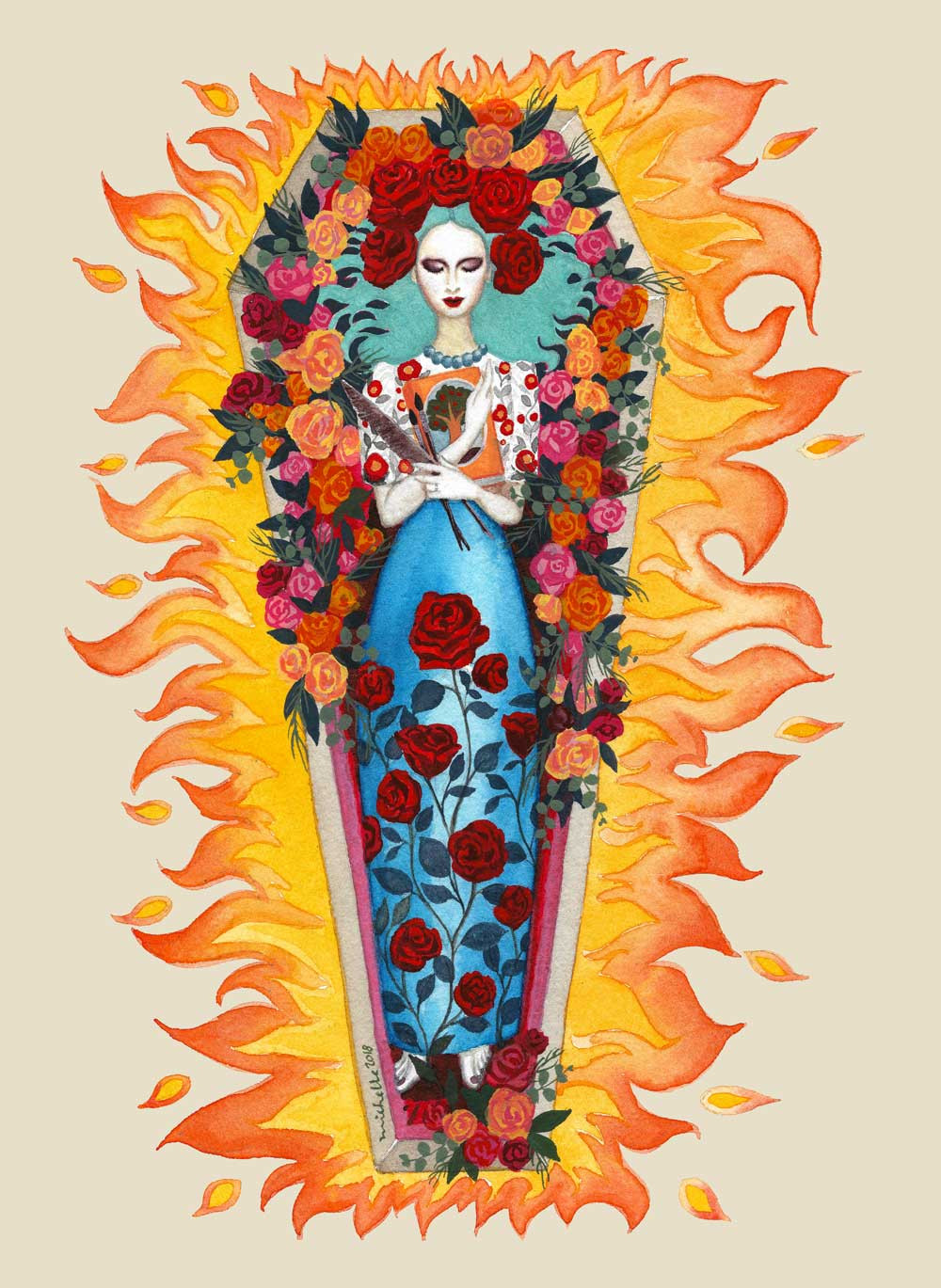 A woman in a coffin with roses
