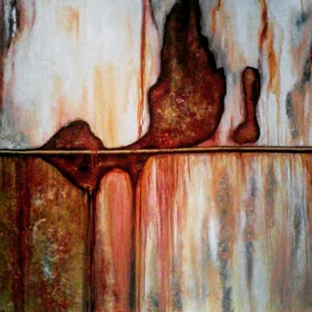 A painting of rust made to look like an abstract painting