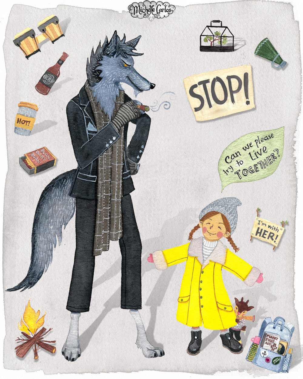 A girl talking to a smoking wolf wearing a suit