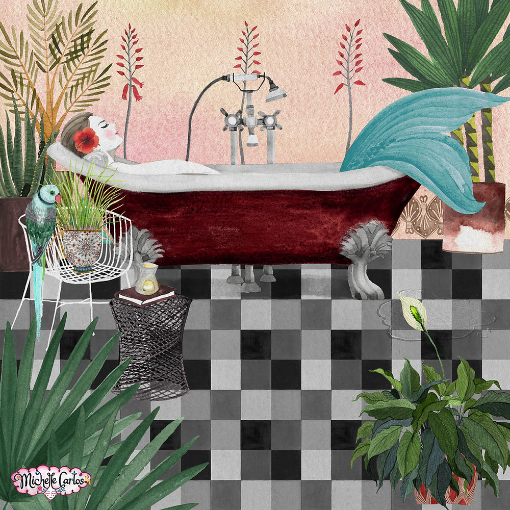 a mermaid relaxing in a bath tub surrounded by plants