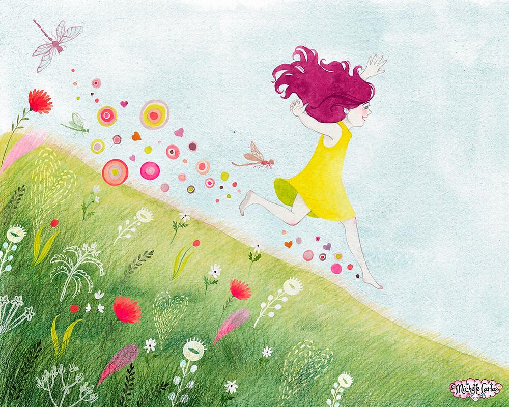 a girl running down a grassy hill