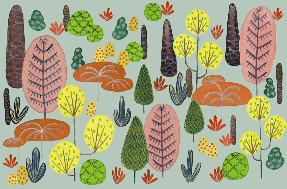 stylized trees and shrubs